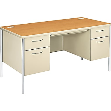 HON ® Mentor ® Steel Base Double Pedestal Desk, 29 1/2in.H x 60in.W x 30in.D, Harvest, Putty