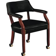 HON® 6550 Series Vinyl Guest Chair, Black/Mahogany (HON6552NEJ10)