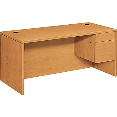 HON ® 10500 Woodgrain Laminate Base Right Single Pedestal Desk, 29 1/2in.H x 66in.W x 30in.D, Harvest