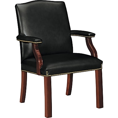 HON ® Jackson Traditional Wood Seating 6570 Leather Guest Chair, Black