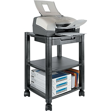Kantek 24 1/4in.H x 17in.W x 13 1/4in.D Mobile Printer Stand, Black