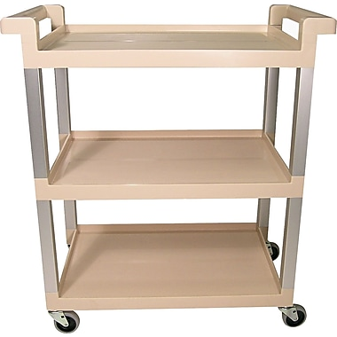 Rubbermaid Three-Shelf Service Cart with Brushed Aluminum Uprights