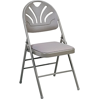 COSCO Bridgeport Fanfare Fabric Padded Seat Deluxe Molded Back Folding Chair, Kinnear Taupe