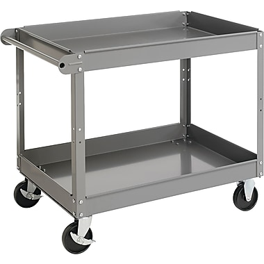 Tennsco 32in.(H) x 24in.(W) x 36in.(D) Two-Shelf Metal Cart, Gray