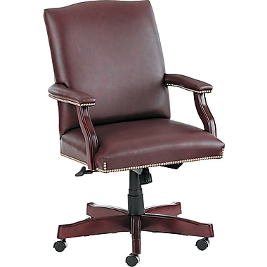 HON ® Jackson Traditional Wood Seating Mid Back Swivel/Tilt Leather Chair, Burgundy