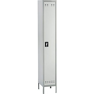 Safco  78in.H x 12in.W x 18in.D Heavy-Gauge Steel Single Tier Locker, Two-Tone Gray