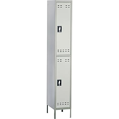 Safco  78in.H x 12in.W x 18in.D Heavy-Gauge Steel Double Tier Locker, Two-Tone Gray