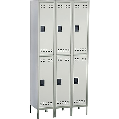 Safco  78in.H x 36in.W x 18in.D Heavy-Gauge Steel Double Tier Locker, Two-Tone Gray