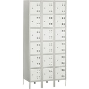"Safco  78""H x 36""W x 18""D Heavy-Gauge Steel Box Locker, Two-Tone Gray"