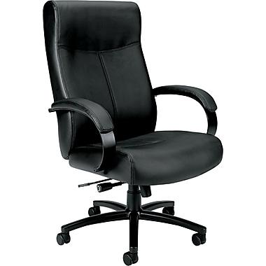 basyx® by Hon VL685 Big And Tall Leather Chair, Supports Up to 450 lbs., Black