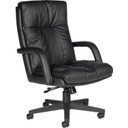 Global Troy High Back Swivel/Tilt Leather Chair, Black