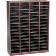 """Safco® E-Z Stor® 52 1/4""""(H) x 40""""(W) x 11 3/4""""(D) Wood/Fiberboard Literature Organizer, Mahogany"""