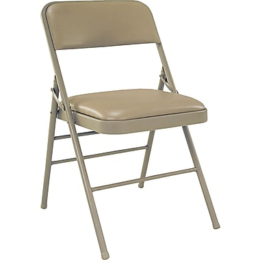 Bridgeport™ Deluxe Commercial Grade Vinyl Folding Chair,Taupe