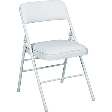 Bridgeport™ Vinyl Deluxe Padded Folding Chairs, 4/Pack,Light Gray