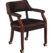 HON® Traditional Wood Seating 6550 Glove-Soft Vinyl Guest Arm Chair With Casters, Oxblood