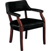 HON® 6550 Series Vinyl Guest Chair, Black/Mahogany (HON6551NEJ10)