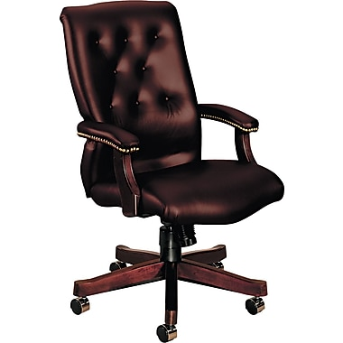 HON ® 6540 Executive High Back Glove-Soft Vinyl Knee Tilt Chair, Oxblood
