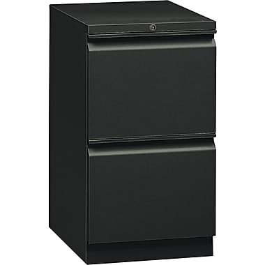 HON  Flagship  19 7/8in.D 2 Drawer Mobile File/File Pedestal, Black, Full Radius Drawer Pull