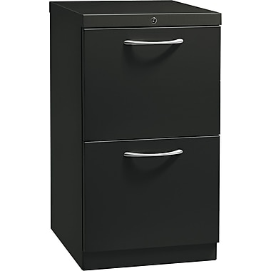 HON® Flagship® 19 7/8in.D 2 Drawer Mobile File/File Pedestal, Charcoal, Satin Chrome Arch Pull