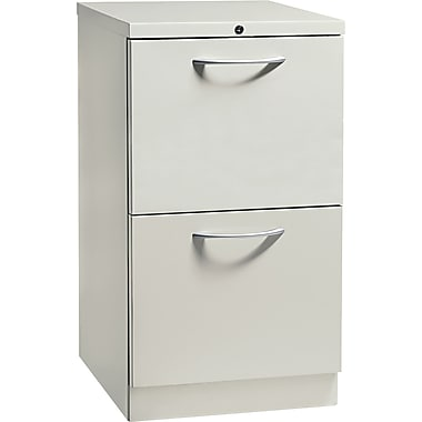 HON® Flagship® 19 7/8in.D 2 Drawer Mobile File/File Pedestal, Light Gray, Satin Chrome Arch Pull