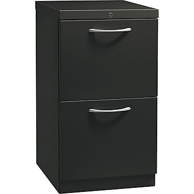 HON® Flagship® 19 7/8in.D 2 Drawer Mobile File/File Pedestal, Black, Satin Chrome Arch Pull
