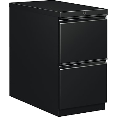 HON  Flagship  28 7/8in.D 2 Drawer Mobile File/File Pedestal, Black, Full Radius Drawer Pull