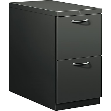 HON® Flagship® 28 7/8in.D 2 Drawer Mobile File/File Pedestal, Charcoal, Satin Chrome Arch Pull