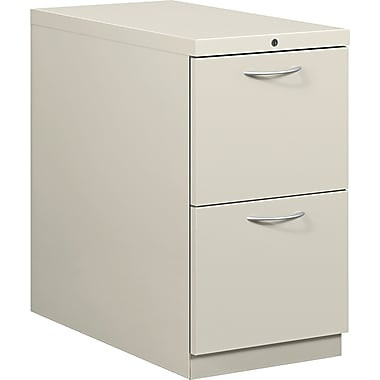 HON® Flagship® 28 7/8in.D 2 Drawer Mobile File/File Pedestal, Light Gray, Satin Chrome Arch Pull