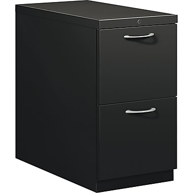 HON® Flagship® 28 7/8in.D 2 Drawer Mobile File/File Pedestal, Black, Satin Chrome Arch Pull
