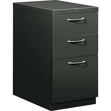 HON® Flagship® 22 7/8in.D 3 Drawer Mobile Box/Box/File Pedestal, Charcoal, Satin Chrome Arch Pull