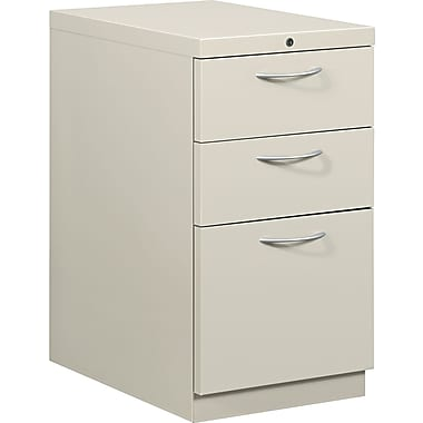 HON® Flagship® 22 7/8in.D 3 Drawer Mobile Box/Box/File Pedestal, Light Gray, Satin Chrome Arch Pull