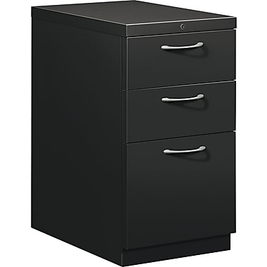 HON® Flagship® 22 7/8in.D 3 Drawer Mobile Box/Box/File Pedestal, Black Satin Crome Arch Pull