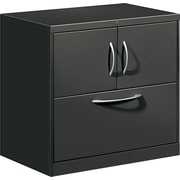 HON® Flagship® 18D 1 Drawer File Center With Storage Cabinet And Lateral File, Charcoal