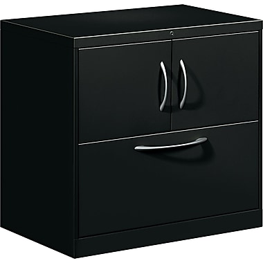 HON® Flagship® 18in.D 1 Drawer File Center With Storage Cabinet And Lateral File, Black