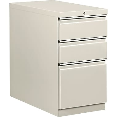 HON  Flagship  28 7/8in.D 3 Drawer Mobile Box/Box/File Pedestal, Light Gray, Full Radius Drawer Pull