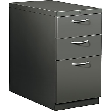 HON® Flagship® 28 7/8in.D 3 Drawer Mobile Box/Box/File Pedestal, Charcoal, Satin Chrome Arch Pull
