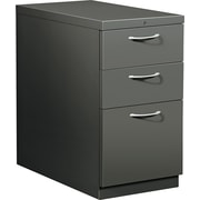 HON® Flagship® 28 7/8D 3 Drawer Mobile Box/Box/File Pedestal, Charcoal, Satin Chrome Arch Pull
