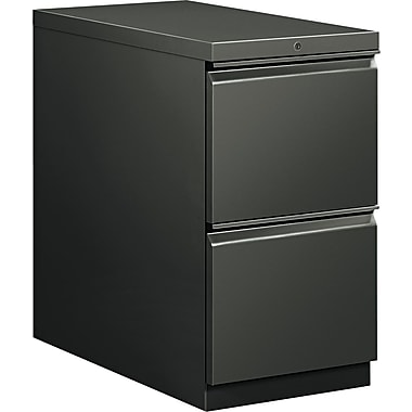 HON  Flagship  28 7/8in.D 2 Drawer Mobile File/File Pedestal, Charcoal, Full Radius Drawer Pull