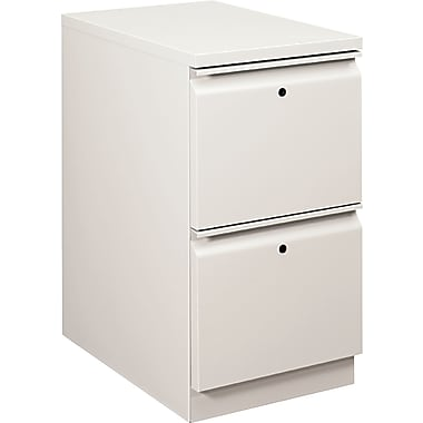 HON  Flagship  22 7/8in.D 2 Drawer Mobile File/File Pedestal, Light Gray, Full Radius Drawer Pull