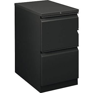 HON  Flagship  22 7/8in.D 2 Drawer Mobile File/File Pedestal, Black, Full Radius Drawer Pull