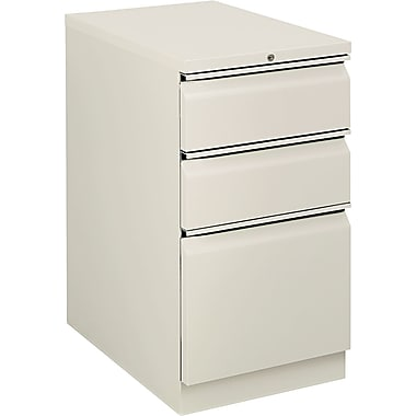 HON  Flagship  22 7/8in.D 3 Drawer Mobile Box/Box/File Pedestal, Light Gray, Full Radius Drawer Pull