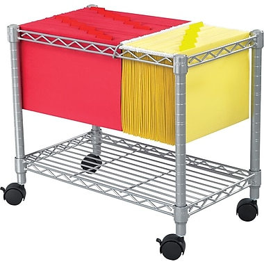 Safco ® 24in.D 1-Shelf Wire Mobile File Cart, Metallic Gray