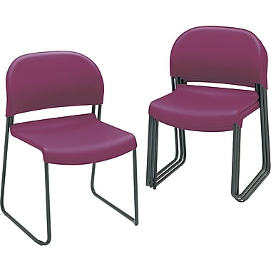HON  GuestStacker  Polymer Chair With Black Finish Legs, Burgundy