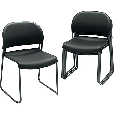 HON  GuestStacker  Polymer Chair With Black Finish Legs, Black