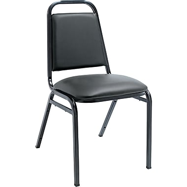 Alera Vinyl Stacking Chair With Square Back, Black