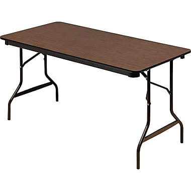 Iceberg Economy Wood Laminate Folding Table, Brown, 60in.W