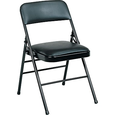 Bridgeport™ Deluxe Commercial Grade Vinyl Folding Chair,Black