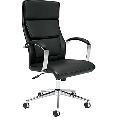 basyx® by Hon VL105 Executive High Back Genuine Leather Chair, Black