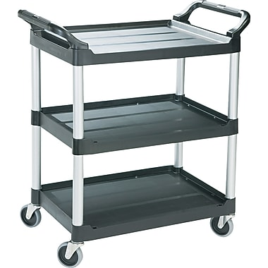 Rubbermaid ® 37 3/4in.H x 18 5/8in.W x 33 5/8in.D Economy Plastic Cart, Black