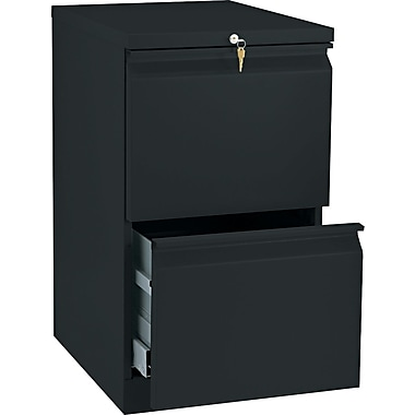 HON® Brigade™ 19 7/8in.(D) 2 Drawer Radius Pull Mobile Pedestal File, Black